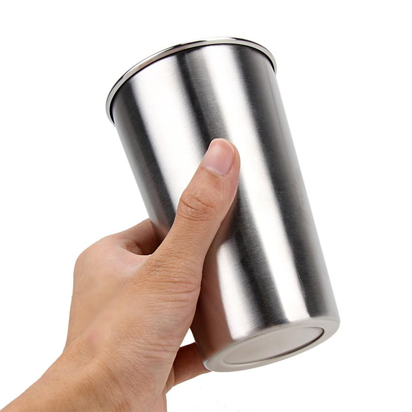 -Pack 16oz Stainless Steel Drinking Cups for Kids Food Grade water glasses 16oz Pint Multi-purpose tumbler 500ml milk beer cup