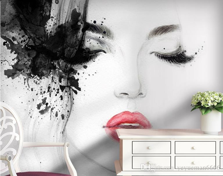 Customize wallpaper 3d stereoscopic Black and white red lips watercolor beauty Wall Background 3D Photo Wallpaper Home Decor