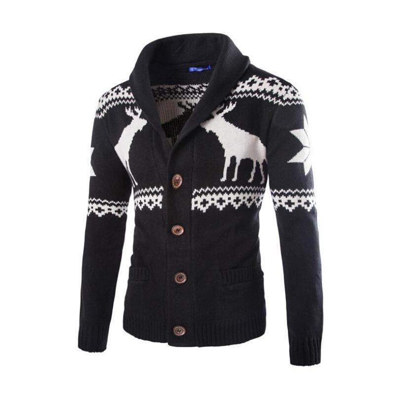2017 New Men Trend Of High-Grade Fawn Christmas Men Sweater Cardigan Men's Fashion Leisure Sweaters Mens Sweaters