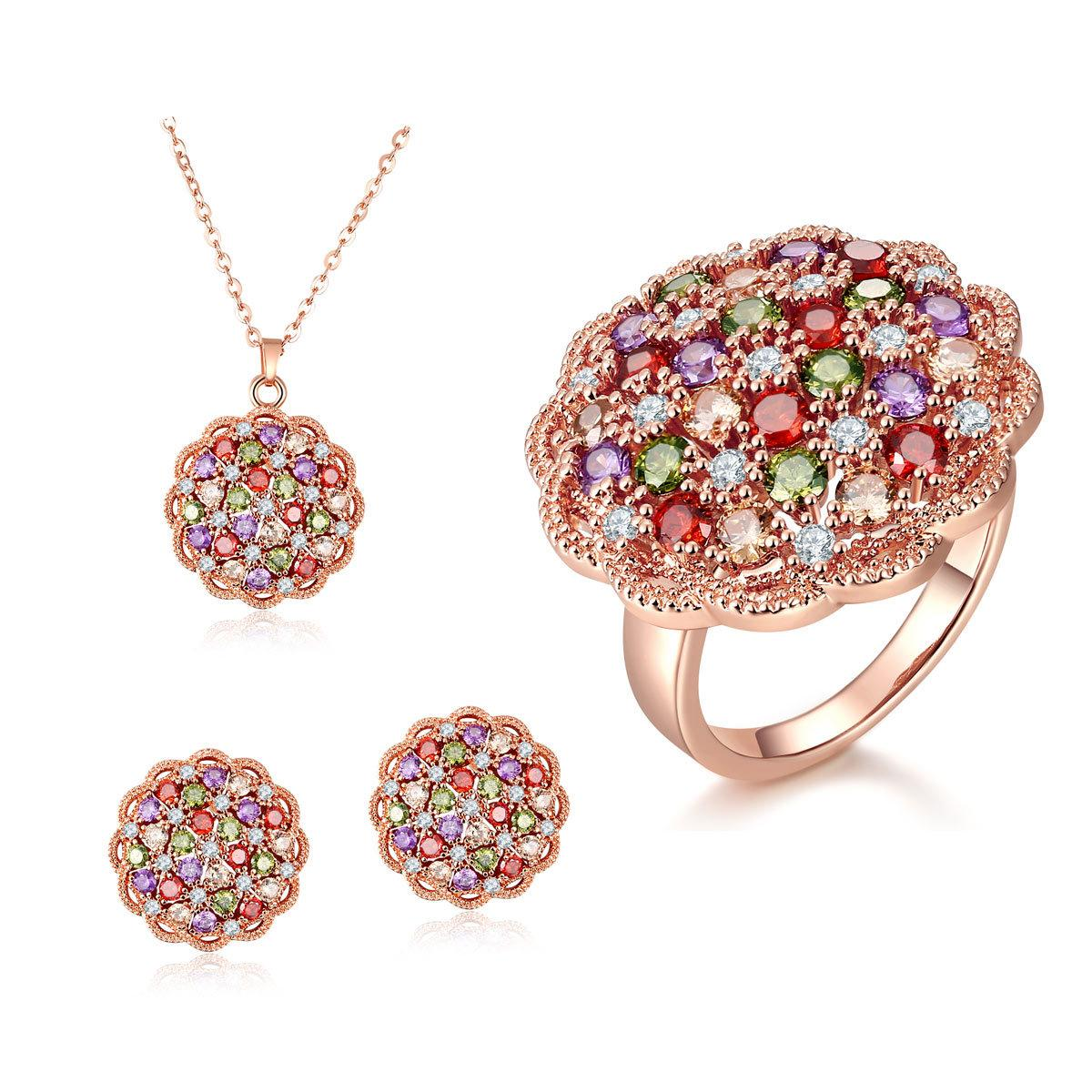 2018 Round Flower Pattern Rose Gold Plated Jewelry Set For Women