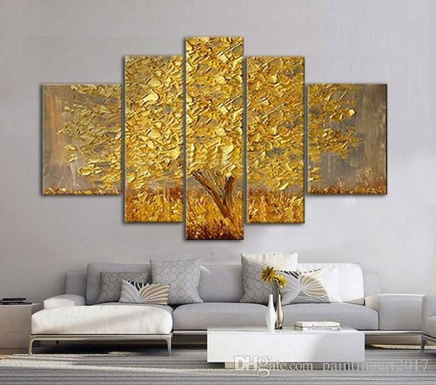 Golden Abstract Fortune Lucky Trees Handmade Landscape Oil Paintings On Canvas Wall Art Pictures For Living Room Home Decor