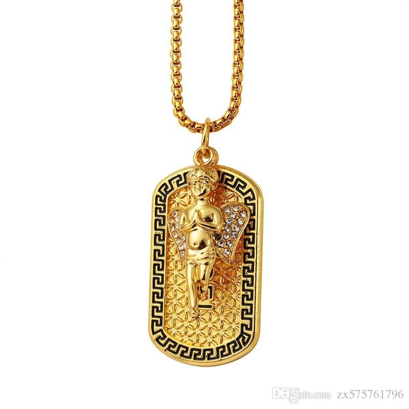 307f9b2ff3fd1 Men Dance Dog Tag Pendant Necklace 18k Gold Plated 75cm Long Chains Rock  Micro Hip Hop Fashion Jewelry Crystal Angel For Mens