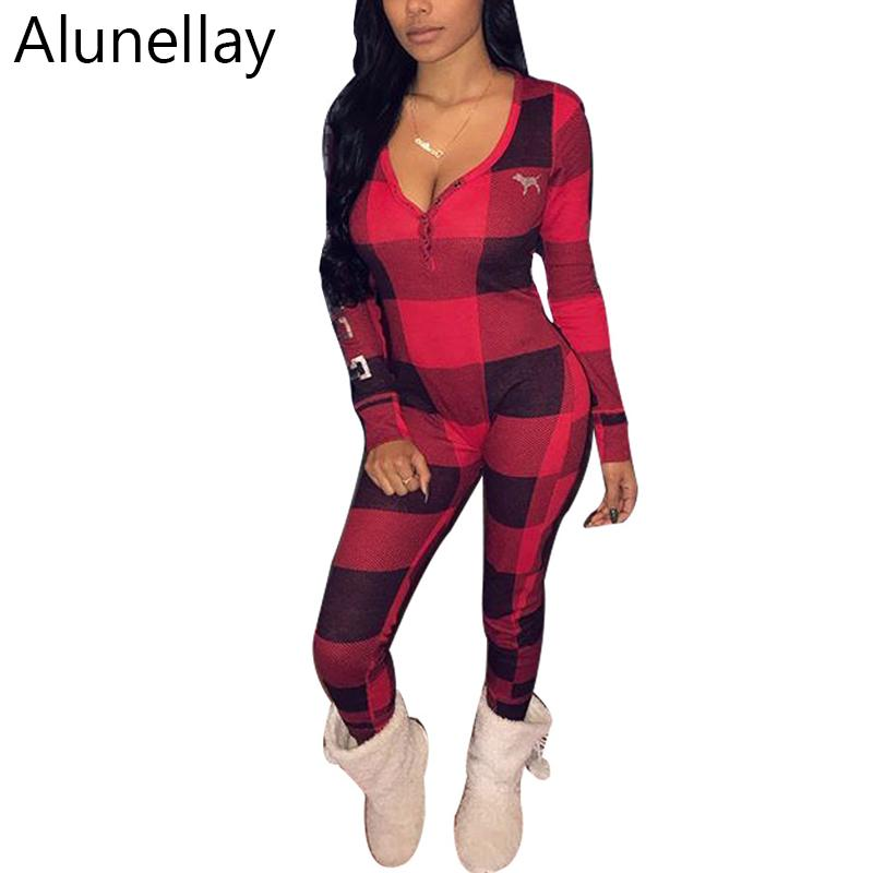ce616a649cf1 Alunellay Plaid Print Women Jumpsuit Skinny Rompers Long Sleeve V ...