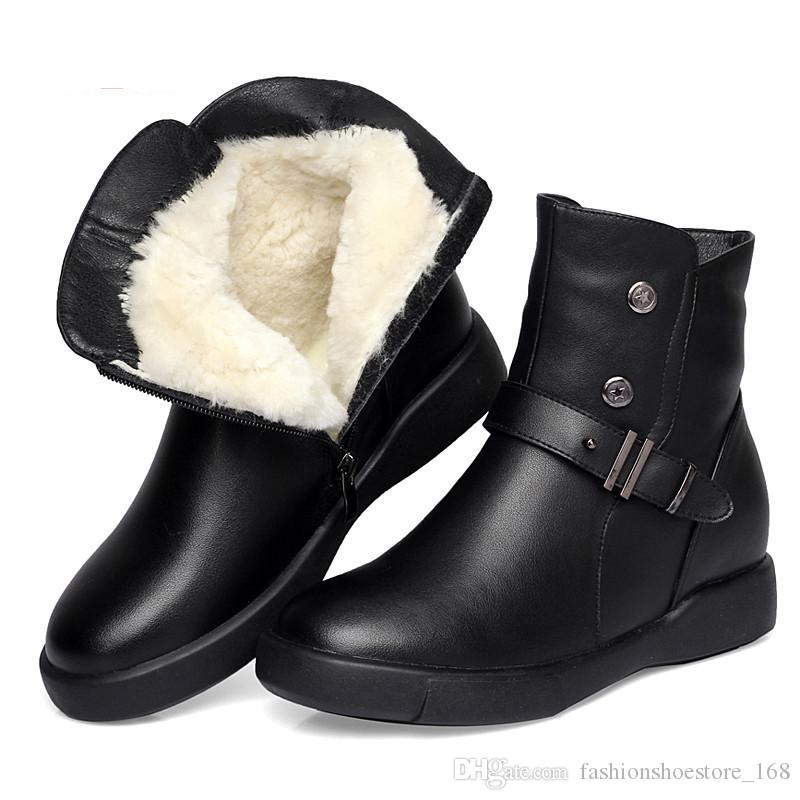 2018 Snow Boots Winter Shoes Women Genuine Leather Boots Women Female Wool  Warm Motorcycle Boots Zapatos De Mujer Ladies Shoes Office Shoes High Heels  From ... 922c637ffd