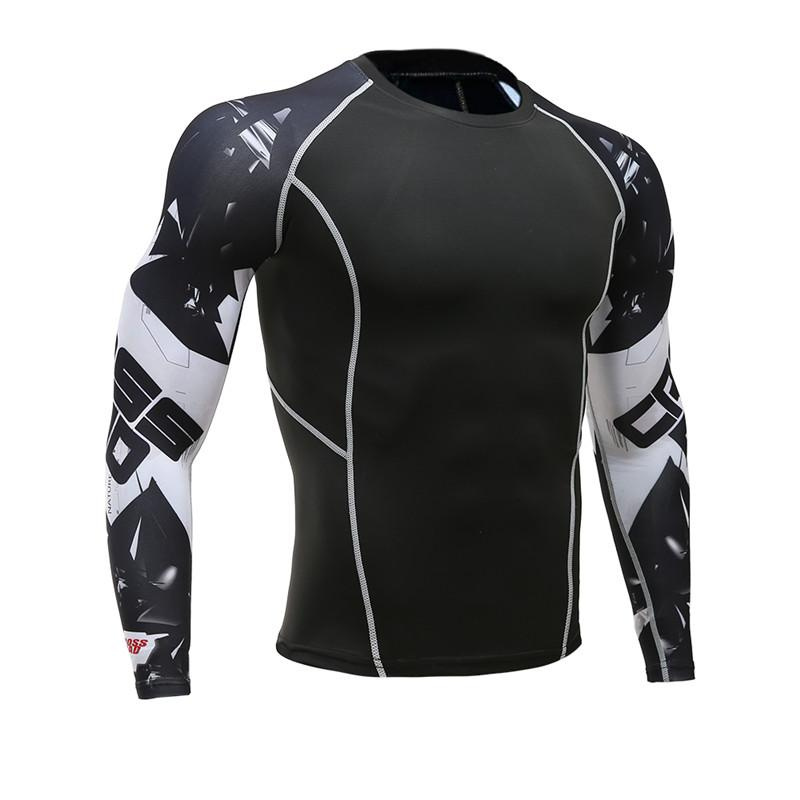 5afef424e6 Compre Mens Fitness Mangas Compridas Rashguard T Shirt Homens Musculação  Pele Apertada Térmica Compressão Camisas MMA Crossfit Workout Top Gear De  Waxeer