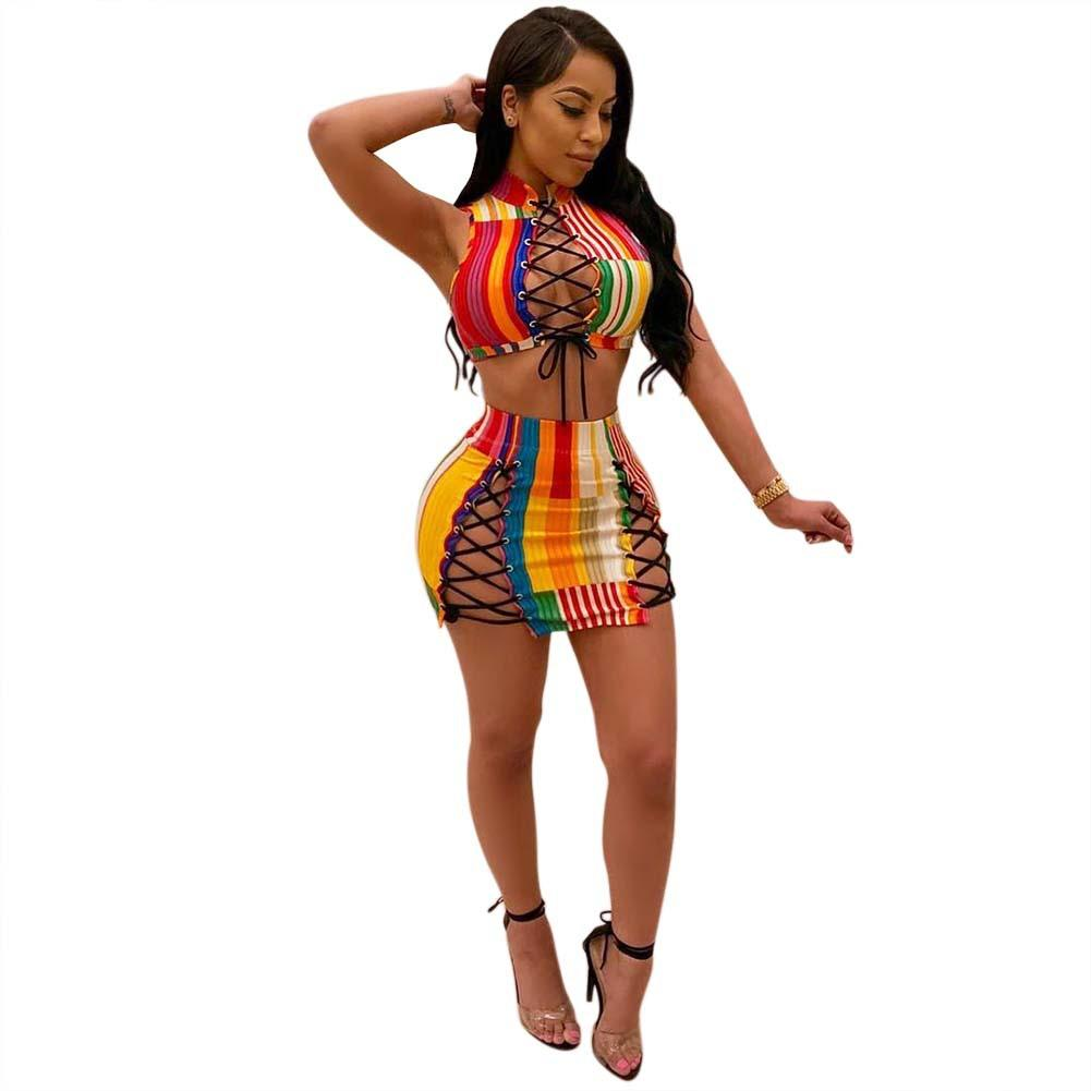 c5bd2cfb250ee 2019 Tight Drawstring Crop Top And Package Hip Mini Skirt Set Sleeveless  Party Outfits Women Colorful Striped Two Piece Sets From Junxcj