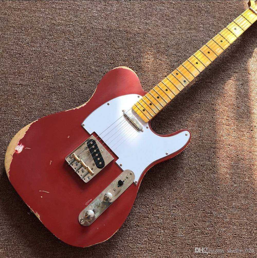Free Shipping custom shop TELE 6 Strings Maple fingerboard red Electric Guitar,telecaster guitaar relics by hands guitarra real photos guita