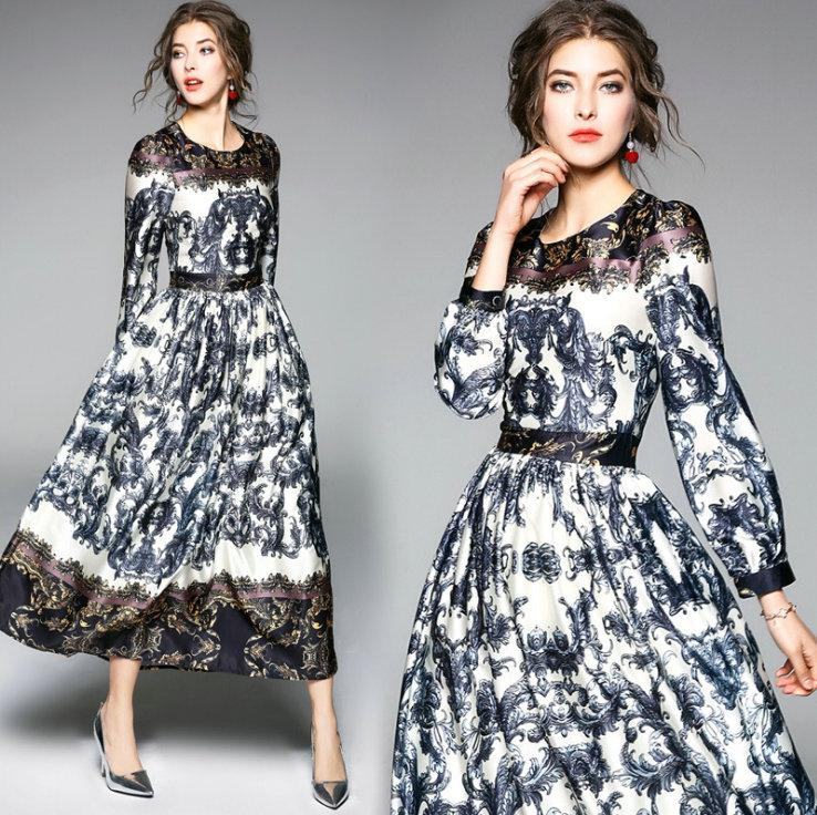 f6211ace68d New Spring Autumn 2018 Long Sleeve Prints Dress Fashion Slim Women s Long  Dress Vintage Elegant Dresses for Ladies High Quality Long Dress Casual  Dress ...
