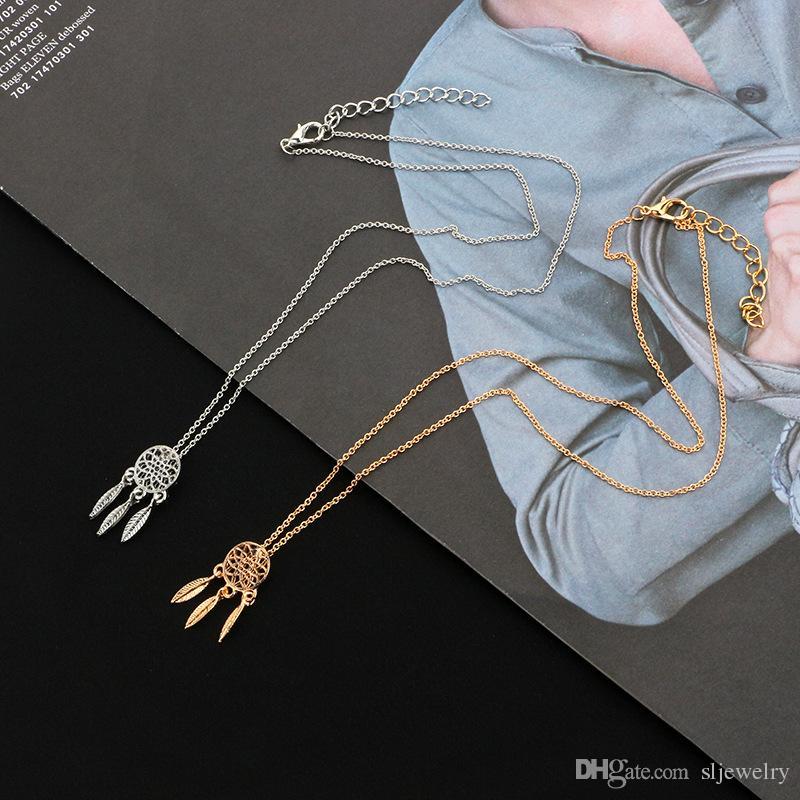 Vente chaude hommes et femmes Bohême nouveau collier de mode, collier or Dreamcatcher, chaîne de chandail de fleurs creuses