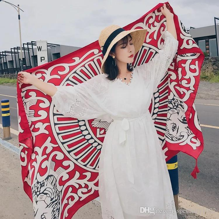Summer beach shawl scarf scarf and scarf silk scarf, Korean version of national wind tourism long cotton linen gauze.