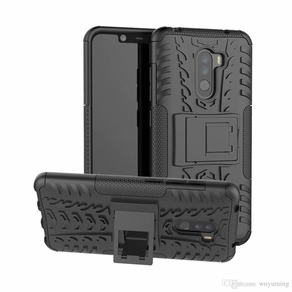 reputable site 87fb1 19188 6.2 inch For Xiaomi Mi Pocophone F1 / Poco F1 TPU PC Silicone Kickstand  Cover Armor Case For Xiaomi Pocophone F1 Fundas Cover Case
