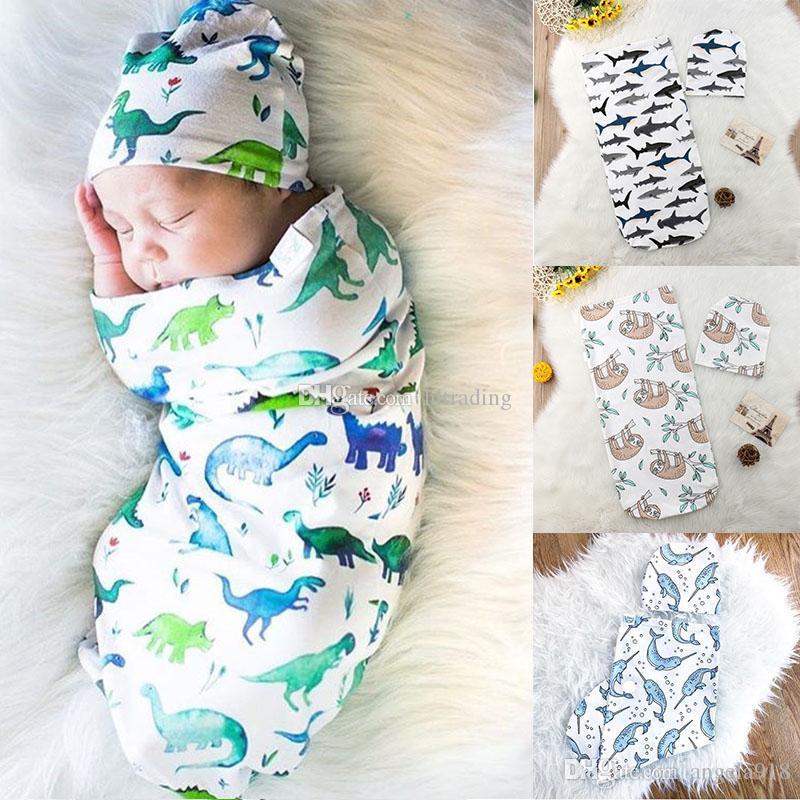 Newborn Wrap Hat Set Cartoon Shark Dinosaur Bear Whale Print Sleeping Bags  Baby Swaddle Christmas Infant Blanket 11 Styles C5504 Tween Sleeping Bags  ... cbf302eab