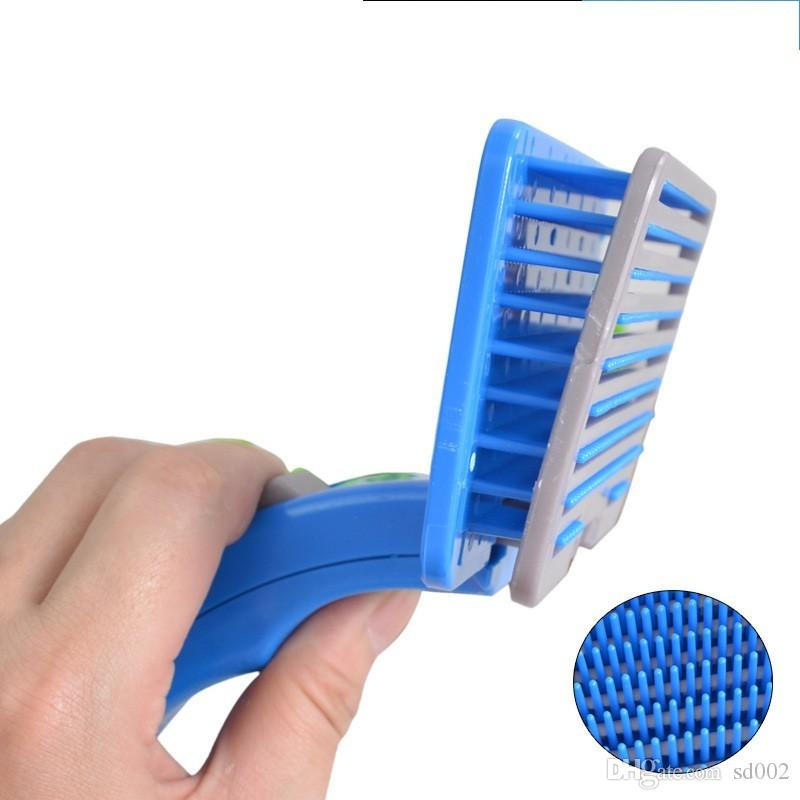 Plastic Automatic Dog Cat Comb Anti Winding Hair Removal Brush Soft Easy To Clean Pet Gooming Tools Simple 4 75he B