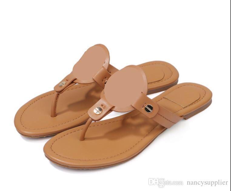 e7edd76f9fec 2018 New With Original Box Fashion Women Sandals Brand Famous Tonory Bourch Flip  Flops Women Summer Shoes Beach Sandals Genuine True Leather Womens Loafers  ...