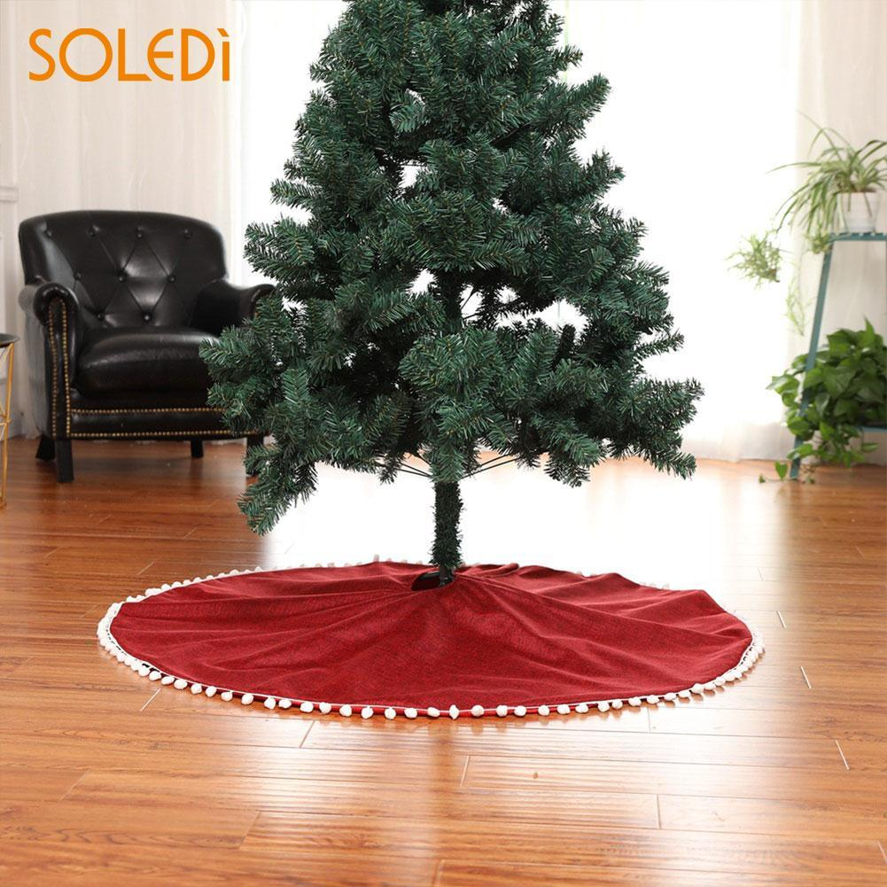 Christmas Tree Stand.Christmas Tree Skirt 127cm Party Decor Beautiful Christmas Tree Stand Linen Ornament Upscale Dress Drop Shipping