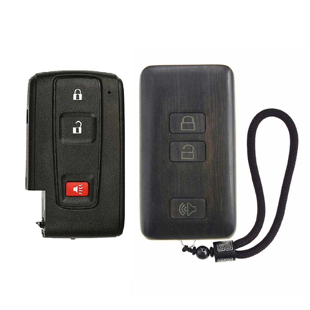 Keyless Entry Remote Control Refit Rosewood Car Key Fob Shell Replacement  for pruis (W/O Circuit Board & Battery)