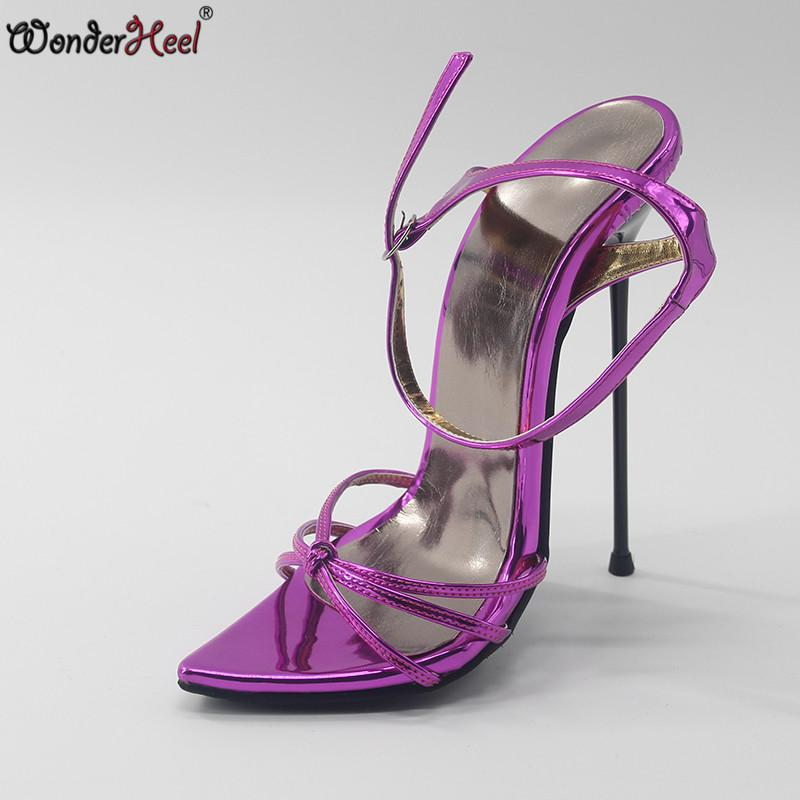 183363a238a6 Wonderheel New Summer Extreme High Heel Appr.16cm Heel Sexy Fetish Pointed  Toe Ankle STRAP Lady SANDALS Ultra Thin Metal Sandals For Girls Chaco  Sandals ...