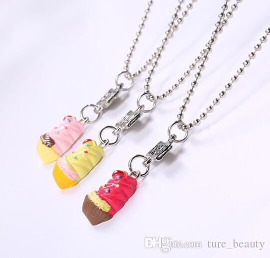 HOT SALE kids jewelry Best Friends Forever BFF pendant charm beaded chain cute strawberry ice-cream necklace for kids gift /