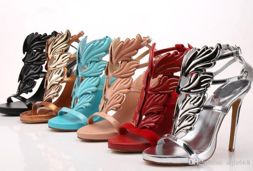 1dbdb4fea02b Hot Sale Golden Metal Wings Leaf Strappy Dress Sandal Silver Gold Red Blue