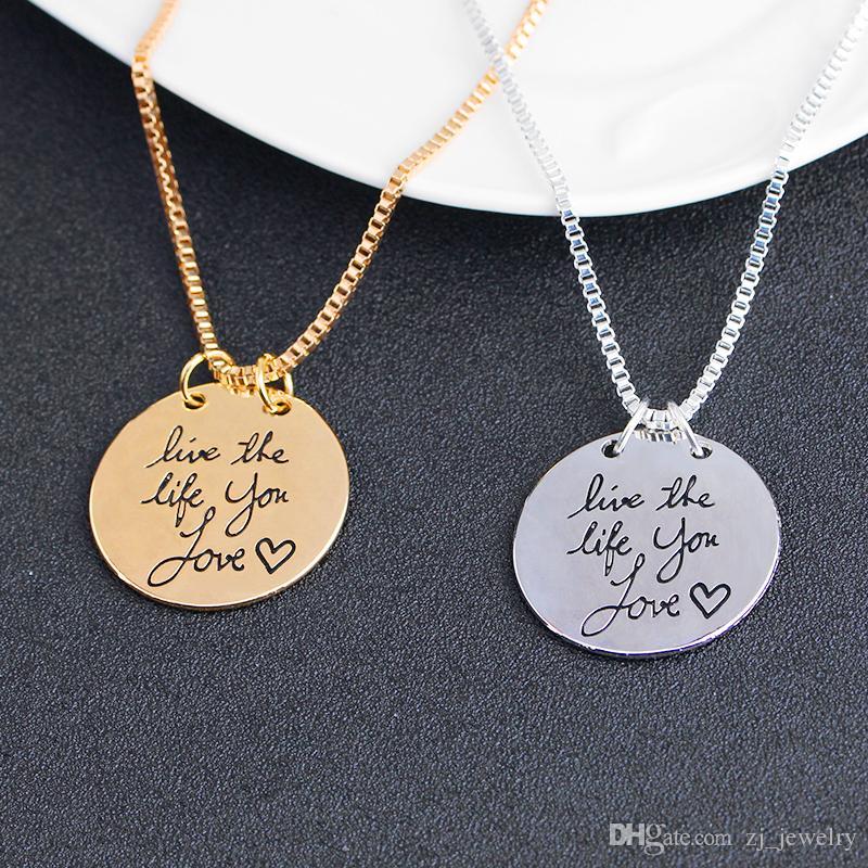 2019 Nova Moda Jóias Aprender De Ontem Viver Para Hoje Esperança Para Amanhã Carta Pingente de Colar de Presente Para As Mulheres 2 Cores ZJ-0903217