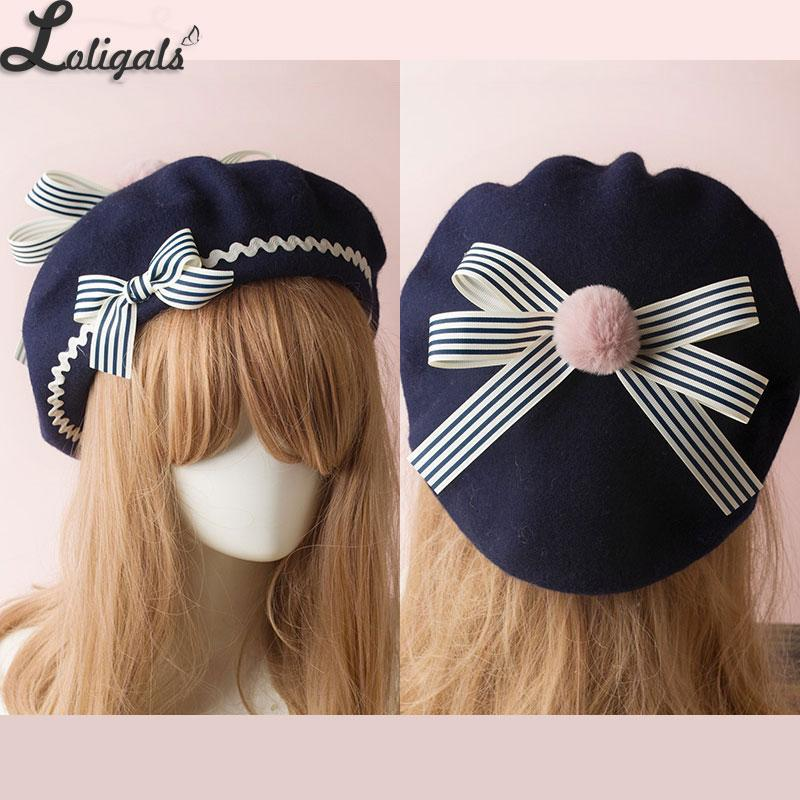 4d05c4485ae0a Sweet Women s Lolita Sailor Beret Gothic Wool Beret Hat with Lovely Bows for  Winter