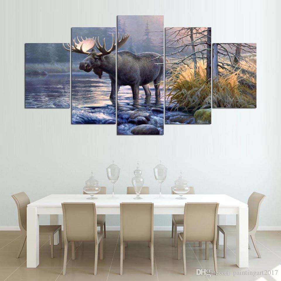 Wandkunst Leinwand Wohnzimmer Abstrakt 5 Panel Moose Tier See Landschaft  Bilder Wohnkultur Moderne HD Gedruckt Gemälde