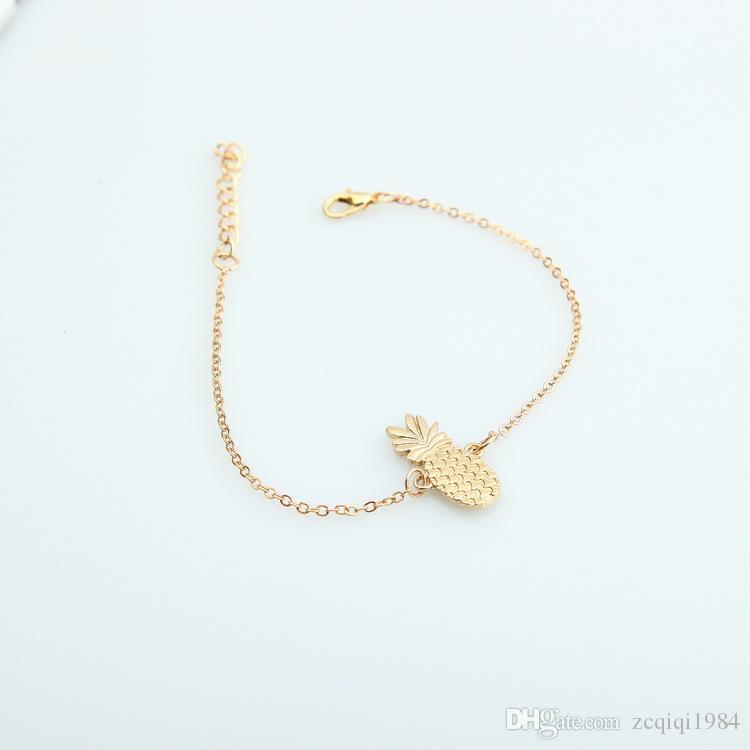 لطيف بوهيميا مصنع القدم خلخال للنساء مجوهرات اكسسوارات الذهب سلسلة الأناناس تذكارية الكاحل سوار هدية