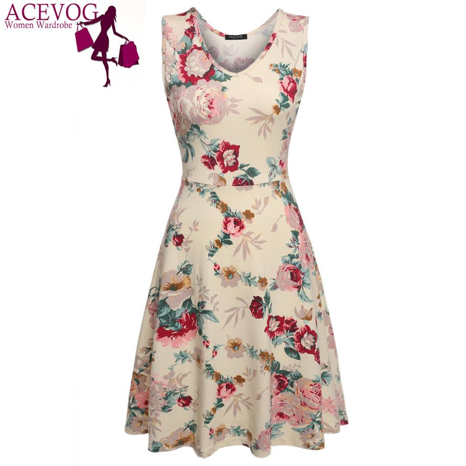5cfe543cd195 ACEVOG Brand 2018 Summer Vintage Dress Women Sexy 1950s 60s Lady Floral  Print Robe Sleeveless Dresses Feminino Vestidos Mujer D1891704 Canada 2019  From ...