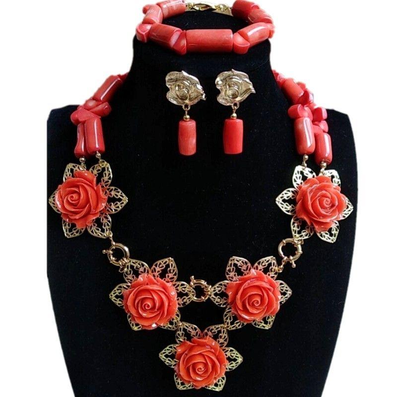 048b2a6a548 Acheter 4ujewelry Original Nature Coral Perles Collier Bijoux Mariage  Africain De Mariée Ensemble De Bijoux Orange Collier Nigérian Ensemble Pour  Les Femmes ...