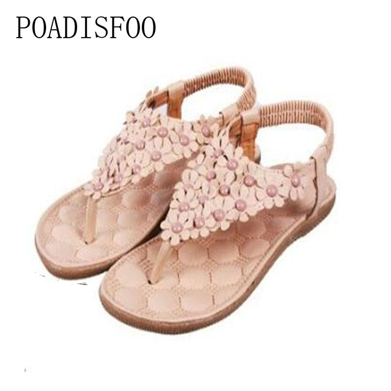2017 Summer Bohemia Style Sandals Shoes Clip Toe Flowers Flat Shoes Korean Flat .DFGD-668