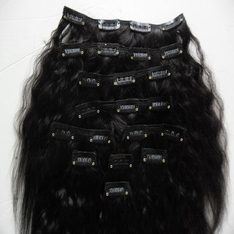 Clip diritta crespa in estensioni capelli naturale grossolana clip ins in 10 pezzi e 120 g / set di colore naturale