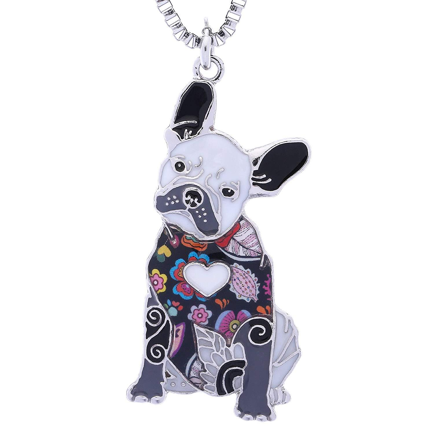 Wholesale French Bulldog Gifts Necklace For Women Handmade Enamel Lovely Pets Dog Jewelry Can Be Used As Bag Keychain Silver Locket Mens Pendants For ...
