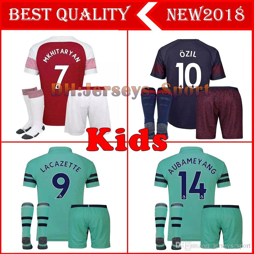 9ede900daf9 2018-2019 Arsenal AUBAMEYANG LACAZETTE KIDS KIT Soccer Jerseys Home 10 OZIL  MKHITARYAN 7 2018 XHAKA RAMSEY Away BOYS CHILD Football Shirts Kids Arsenal  ...