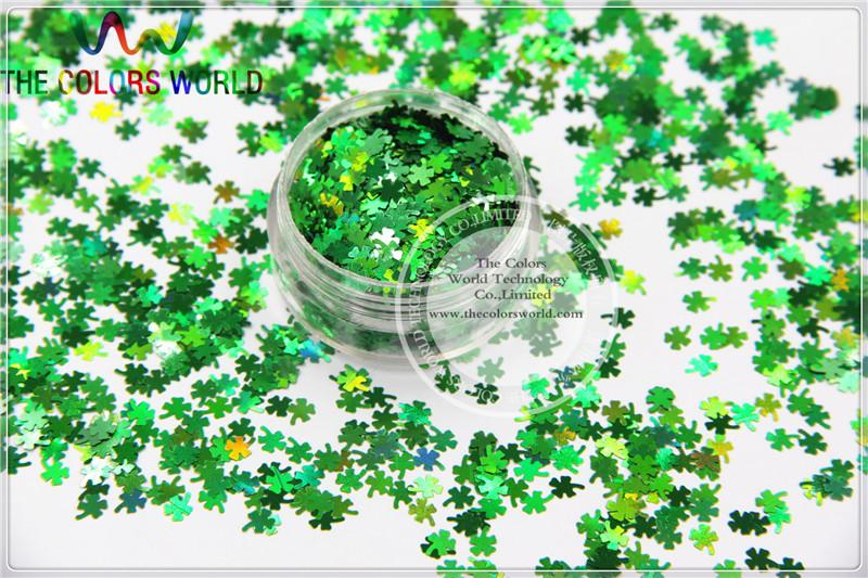 Holographic Green Color Four Leaf Clover Shape Glitter For Nail Art