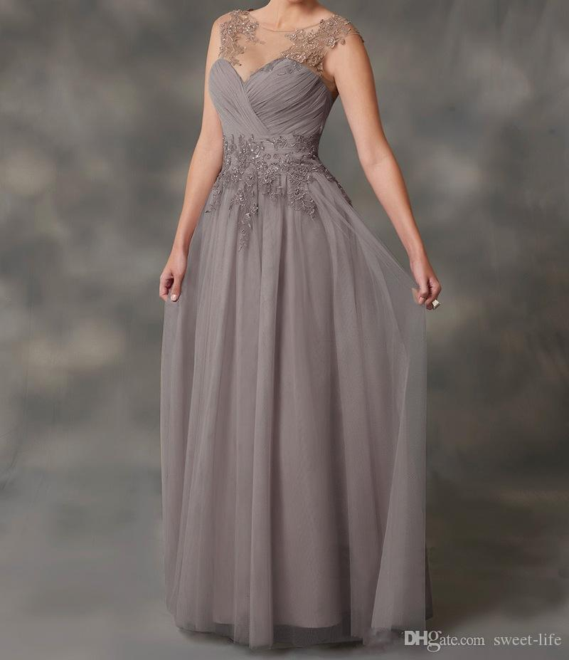 Simple 20118 A-Line Gray Chiffon Mother Of The Bride Dresses With Jacket Applique Lace Dresses Evening Wear Cheap Guest Dresses