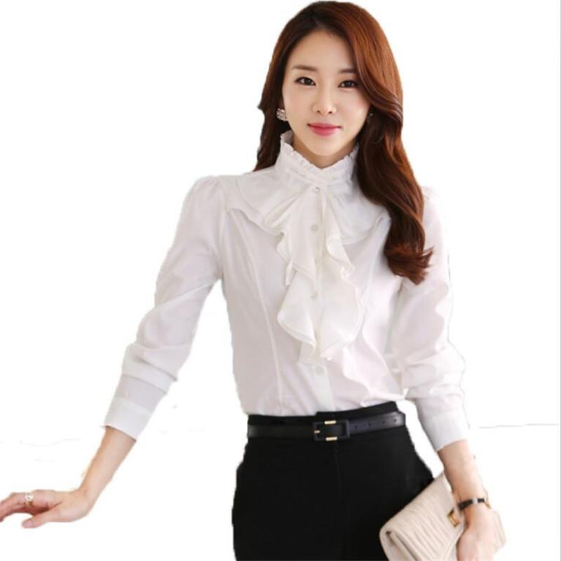 dd3552cce0ce Ruffles Dama Blanca Camisas Trabajo Formal Blusa Tallas grandes S-5XL  Mujeres coreanas Blusas gasa Camisa Slim Mujer Blusa Tops 32644