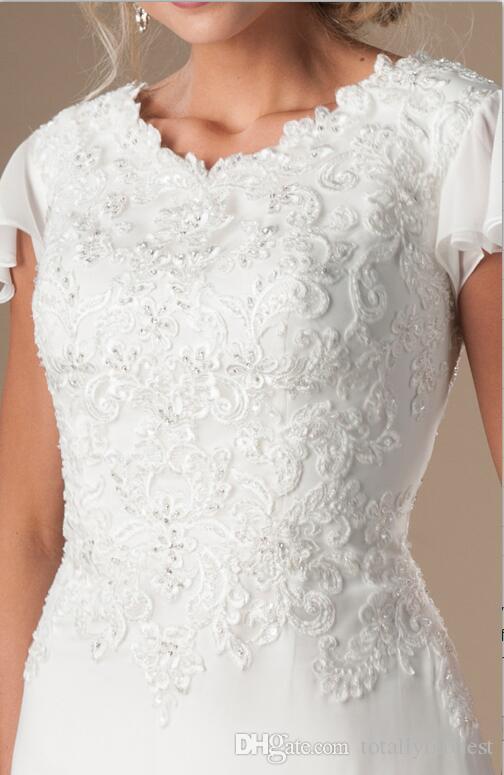 Vestidos de novia modestos de encaje de gasa Boho con mangas aleteo Vestidos de novia con cuentas de templo Vestido de novia religioso con mangas por encargo