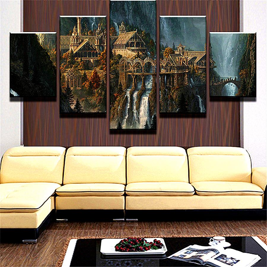 Lord of The Rings,5 Pieces The Latest Most Popular High-definition Canvas Printed Home Decorative Art/ Unframed / Framed