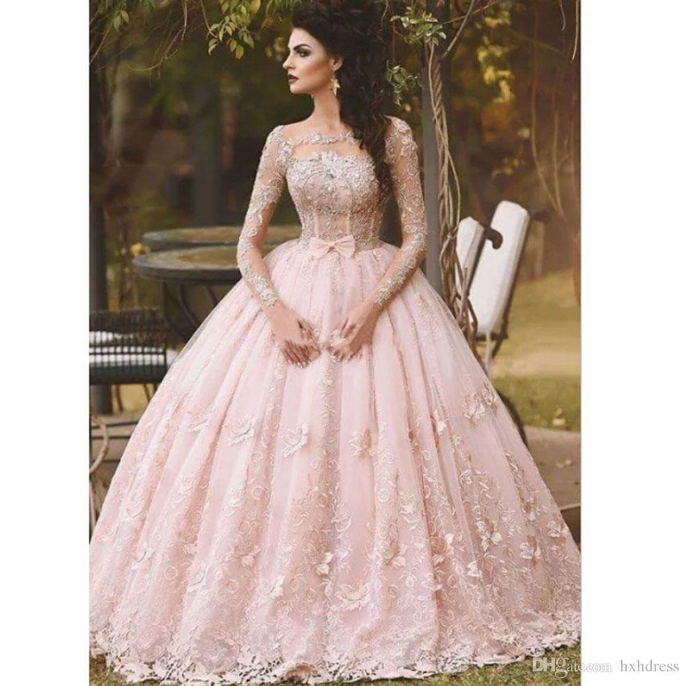 Prom Dresses Ball Gown Lace Appliqued Pink Long Sleeve Bow ...