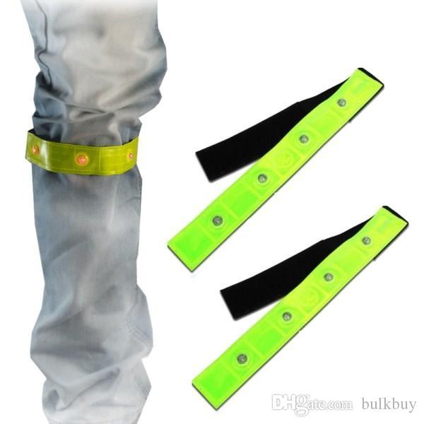Seguridad Reflexivo Brazalete amarillo Luces LED rojas Corriendo Ciclismo Correr Caminar Calentadores de piernas