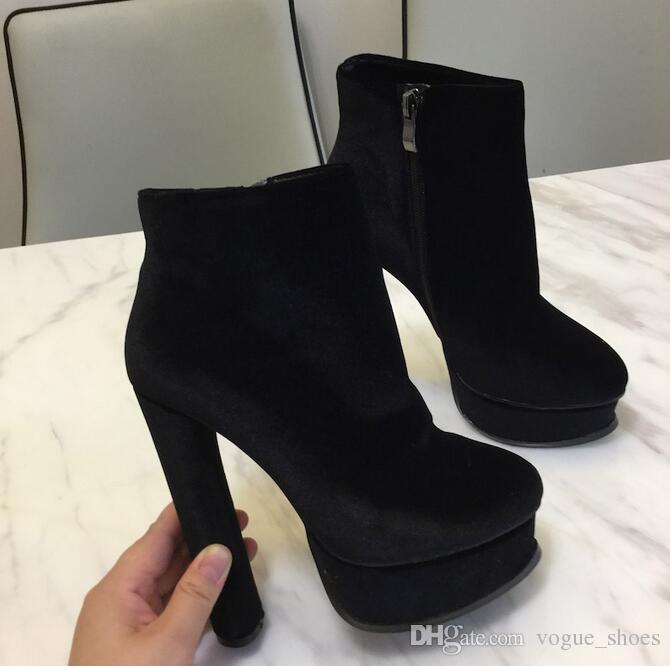 316fe42ba16 Plus Size 10 Black Suede Ankle Boots For Women Round Toe Thick Heels Hidden  Platform Short Bootie Sexy Ladies Winter Dress Shoesr