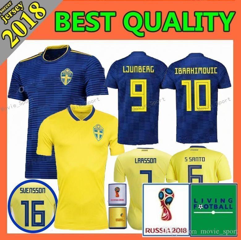 0fbd887cfa8 2018 SWEDEN World Cup HOME IBRAHIMOVIC KALLSTROM Soccer Jerseys 18 Sweden  National Team Jerseys Football Shirt Jerseys Online with  25.4 Piece on ...