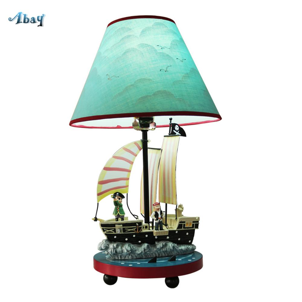 Creative Cartoon Pirate Ship Lampe de table pour enfants chambre chevet étude salon café enfants lampe lampes de chevet led