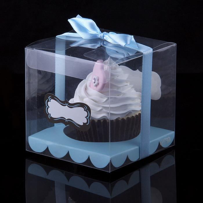 9x9x9cm Transparent Cupcake Box Clear Cake Box With Sticker And