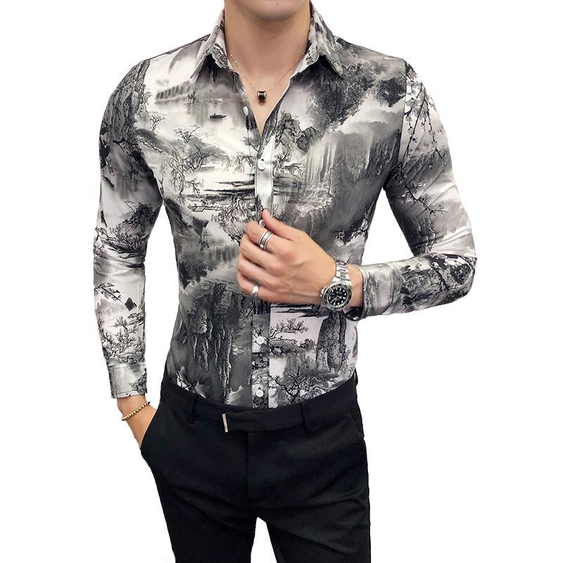 eb8f95e564 Compre Camisa Outono Homem Moda 2018 Pintura De Paisagem Imprimir New  Casual Mens Tops De Manga Longa Slim Fit Night Club Vestido De Festa Camisas  De ...