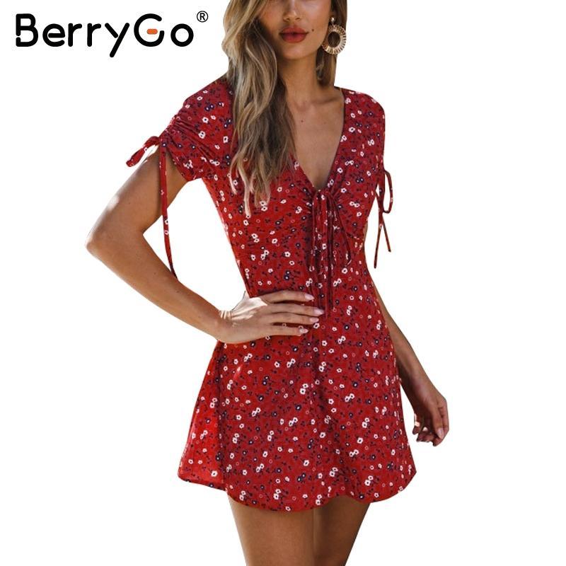 1300884384 BerryGo Boho Floral Print Summer Dress Female 2018 Sexy V Neck Short ...