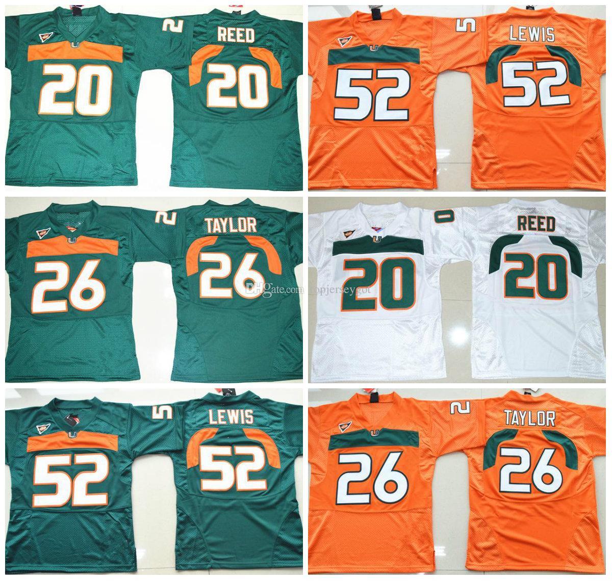 reputable site 7aa12 90e7e Miami Hurricanes College Football Jersey 5 JOHNSON 20 Ed Reed 52 Ray Lewis  26 Sean Taylor 47 IRVIN 87 WAYNE