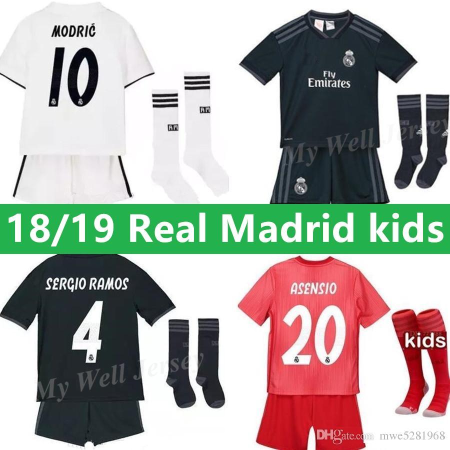 18 19 Real Kids Kit Football Jersey MADRID Home White Away Boy ... 70c8c01b3