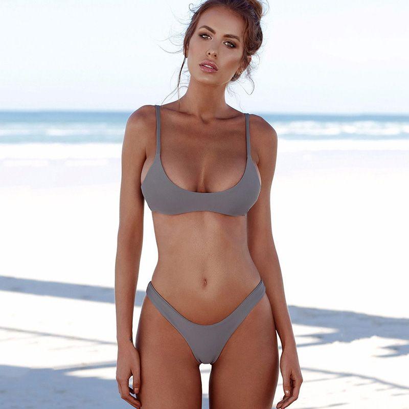 2877d36743ace 2018 Sexy Micro Bikini Plus Size Swimwear Women Swimsuit Female Beach Wear Push  up Thong Brazilian Bikini Set White Bathing Suit