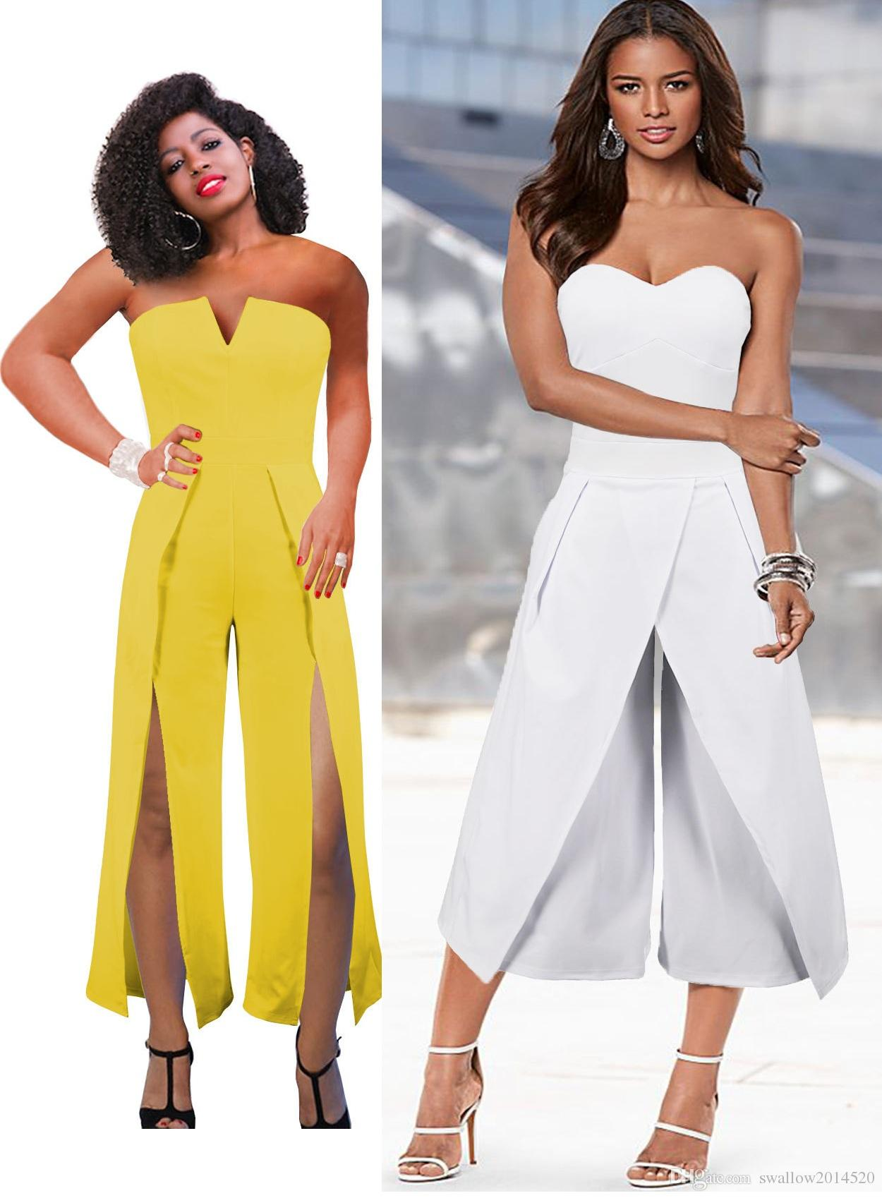0a384c20bd2 2019 2018 Two New Styles Ladies Evening Party Jumpsuit Sexy Strapless Split  Wide Leg Jumpsuits White Yellow Slim Fit Long Rompers S 2XL From  Swallow2014520